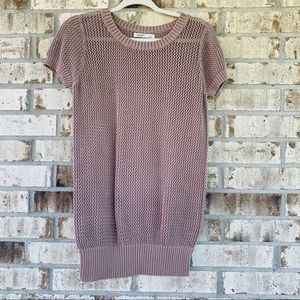 Old Navy brown crochet blouse size L